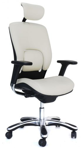 White Ergonomic Genuine Leather Chair with GM Seating
