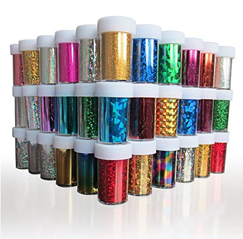 XICHEN®Starry Sky Stars Nail Art Stickers Tips Wraps Foil Transfer Adhesive Glitters Acrylic DIY Decoration (24PCS 24 Colors) (4cm*100cm)