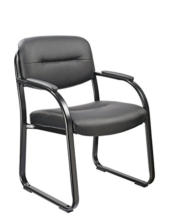 Office Factor Black Vinyl Guest Chair Side Visitors Waiting Room Reception Sled Base Office Chair