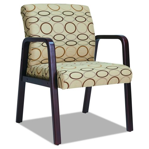 Alera RL43 TAN Reception Lounge Series Guest Chair, Mahogany/Tan Fabric-waiting room chairs