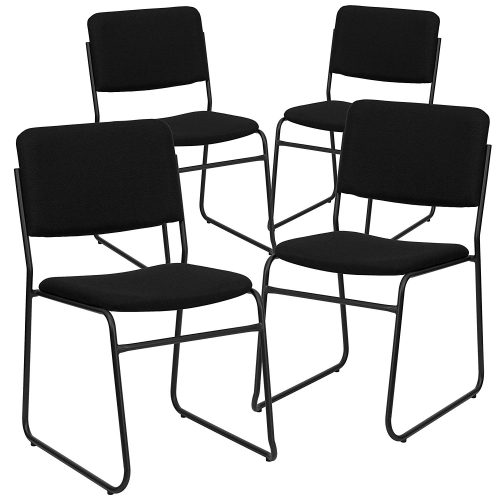 Flash Furniture 4 Pk. HERCULES Series Heavy Duty Black Vinyl Fabric Stack Chair with Arms