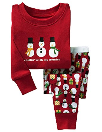 Boys Christmas Pajamas Girls 2 Pcs Cotton PJ's Children Sleepwear Clothes Set