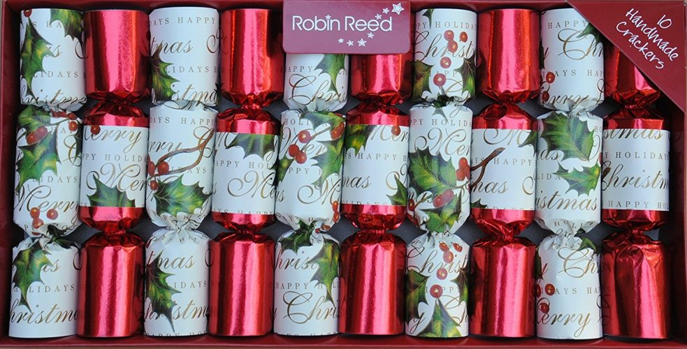 "Robin Reed Bows & Berries Traditional English Christmas Crackers 10x8.5"" (428)"