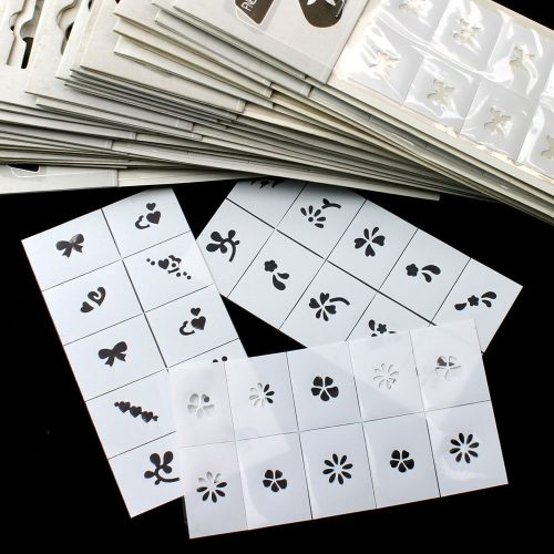 BTArtbox 35pcs Pattern Template Stencil Stickers Set Airbrush Stencils Nail Art Design for Fingers & Toes