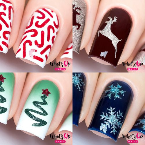 Christmas Nail Stencils 4 pack (Candy Canes, Ribbon Tree, Deer, Gold Merry Snowflake)