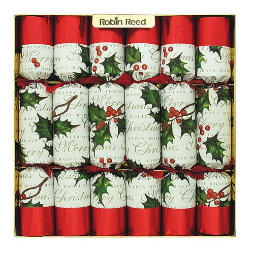 CHRISTMAS CRACKERS - RIBBONS & HOLLY CHRISTMAS CRACKERS - BOX OF 12 - TWO BOXES