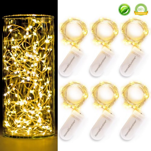 [6-PACK] 7Feet Starry String Lights, Fairy String Lights 20 Micro Starry LEDs On Silvery Copper Wire. 2pcs CR2032 Batteries Included, Works for Wedding Centerpiece, Party, Table Decorations (Warm White)