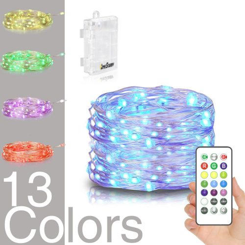 Homestarry LED String Lights; Battery Powered Multi Color Changing String Lights With Remote,50leds Indoor Decorative Silver Wire Lights for Bedroom, Patio, Outdoor Garden, Stroller, Christmas Tree.(16ft)