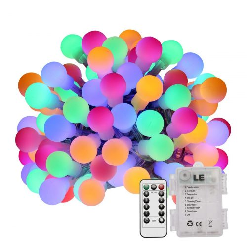 LE 100 LEDs 33ft Globe String Lights RGB Color Changing with Remote Control, Waterproof 8 Modes Lighting Fairy Twinkle Light Bulb For Patio Party Wedding Christmas Tree Décor(Adapter Included)