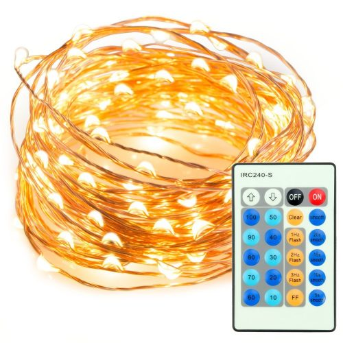 33ft 100 LED String Lights Dimmable with Remote Control, TaoTronics Waterproof Decorative Lights for Bedroom, Patio, Garden, Gate, Yard, Parties, Wedding (Copper Wire Lights, Warm White)