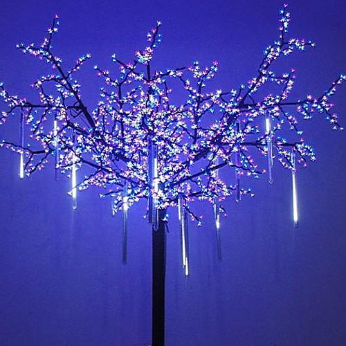 OMGAI LED Meteor Shower Rain Lights - Waterproof Drop Icicle Snow Falling Raindrop 30cm 8 Tubes Cascading Lights for Wedding Xmas Home Décor, Cool White (UL Listed Plug)