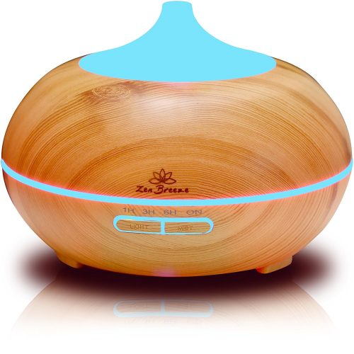 Zen Breeze Essential Oil Diffuser, 2017 Model Aromatherapy Diffuser, 14 Color Night Light, Best Wood Grain, Housewarming Gift Ideas, Wedding & Birthday Gifts Edition