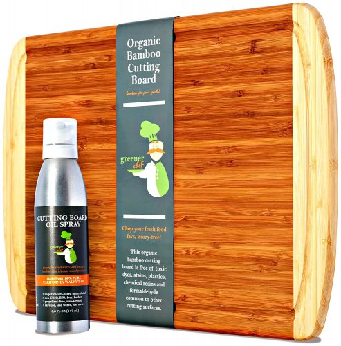 Greener Chef Extra Large Organic Bamboo Chopping Board & Cutting Board Oil Value Set - LIFETIME REPLACEMENT WARRANTY