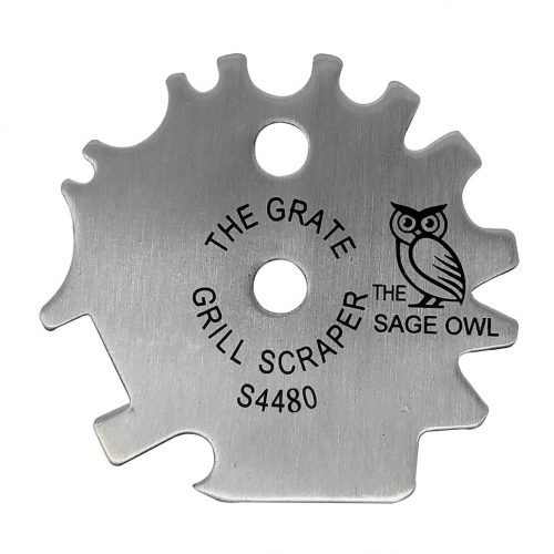 The Grate Grill Scraper Universal - Stainless Steel BBQ Grill Tool for Effective Cleaning of BBQ Grills - with Bottle Opener and Griddle Cleaner - Makes a Great Stocking Stuffer - by the Sage Owl