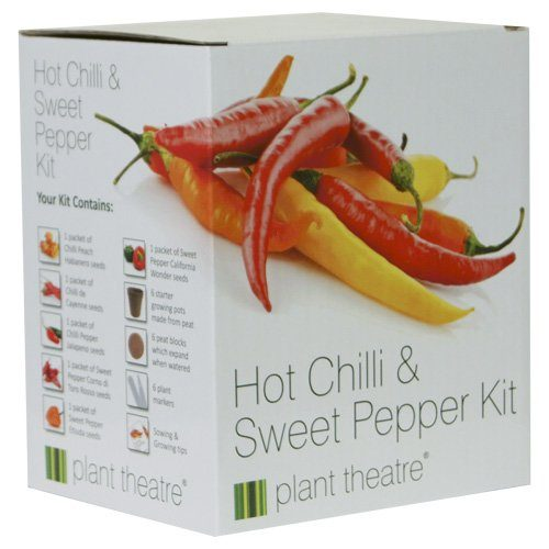 Plant Theatre Hot Chili & Sweet Pepper Kit Gift Box - 6 Different Varieties to Grow -Everything you need to start growing in one box! Super Grow Kit Gift