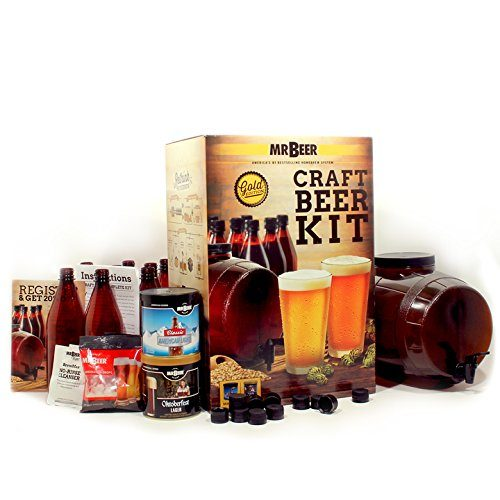 Mr. Beer Premium Gold Edition 2 Gallon Home Brewing Craft Beer Making Kit with Two Beer Refills, Convenient 2 Gallon Fermenter, Bottles, Caps, Carbonation Drops, Sanitizer and Brewing Instructions
