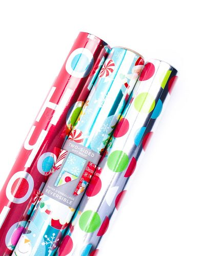 Hallmark Christmas Reversible Wrapping Paper (Foil Ho Ho Ho, 3 Pack)