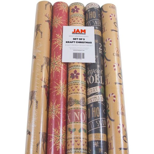 JAM Paper Kraft Wrapping Paper Rolls - 125 sq. Ft. - Kraft Christmas Set - 5 Rolls/Pack