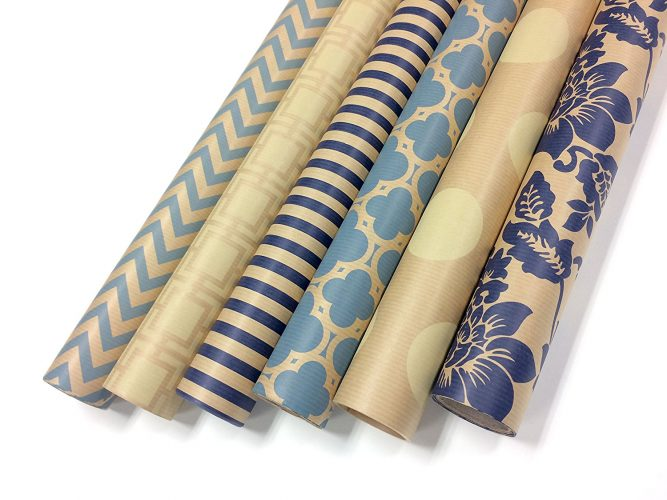 "Kraft Blue and Cream Wrapping Paper Set - 6 Rolls - Multiple Patterns - 30"" x 120"" per Roll"