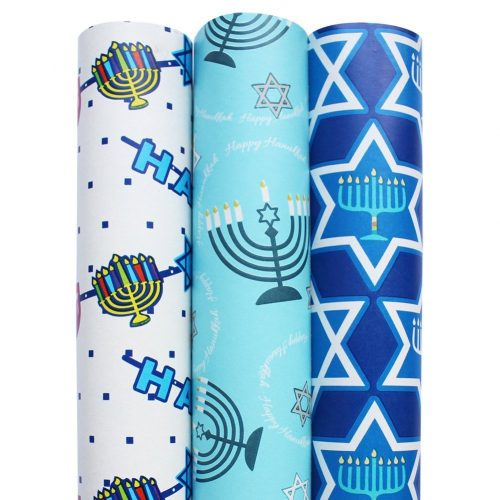 Hanukkah Gift Wrap in Assorted Designs - 3 Rolls total 150 sq. Feet.