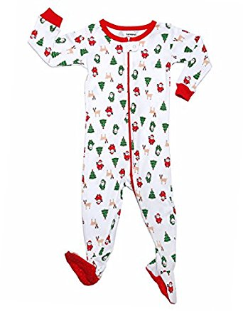 "Leveret ""Christmas"" Footed Pajama Sleeper 100% Cotton (Size 6M-5 Years)"