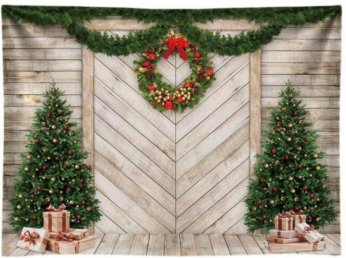 Funnytree Wood Door Wallpaper for Christmas