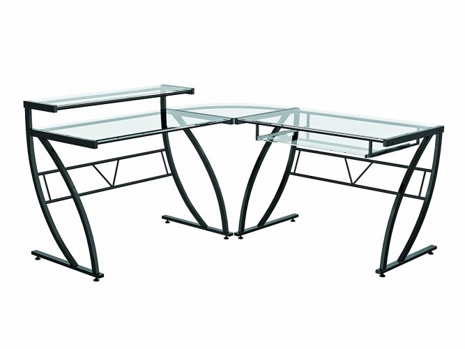 Z-Line: Belaire L-Shaped Glass Desk