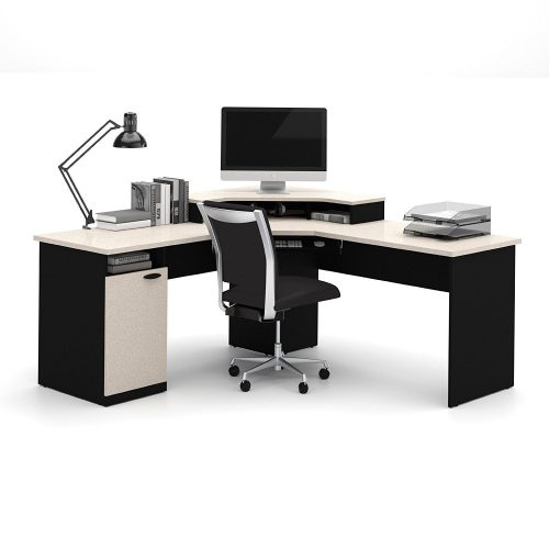 Bestar Hampton: Sand Granite & Charcoal Corner Workstation