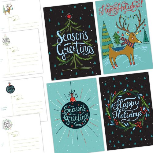 One Jade Lane - Merry Holiday POSTCARDS - 40 Ct Holiday Cards - 4 Designs/10 of each - Heavy Stock - Postage Saver