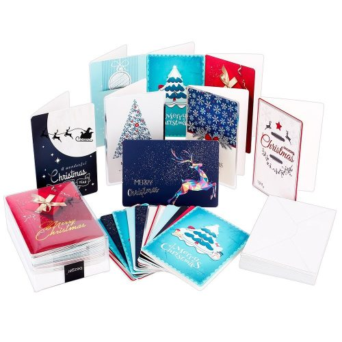 Christmas Greeting Cards with Envelopes, Bezgar Christmas Cards Bulk Box 32 Pcs Note Blank Xmas Cards