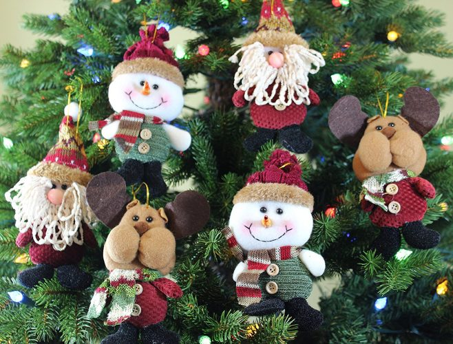 Plush Hanging Christmas Ornament Sets in Country Colors (Santa/snowman/reindeer, 6pk)