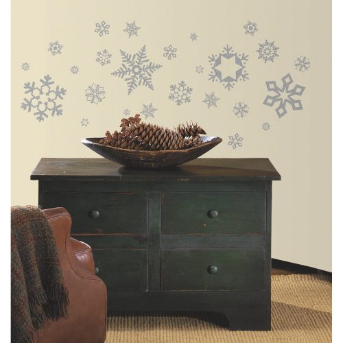 RoomMates RMK1413SCS Glitter Snowflakes Peel & Stick Wall Decals, 47 Count
