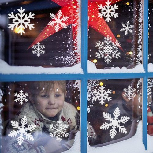Christmas Decorations Snowflake Window Clings Snowflakes Stickers Windows Decals for kids [100+ Pcs] White Snowflake Ornaments Winter Snow Holiday Decal (4 sheets)