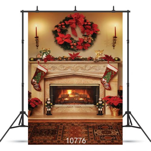 WOLADA 5x7ft Christmas Photography Background Red Candle Fire Studio Thin Vinyl Photo Backdrop 10776