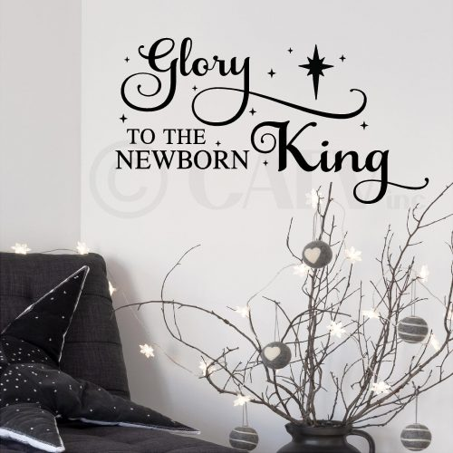 Glory to the newborn King Christmas vinyl lettering wall decal sticker Christ quote Holiday decor with nativity star (Black)