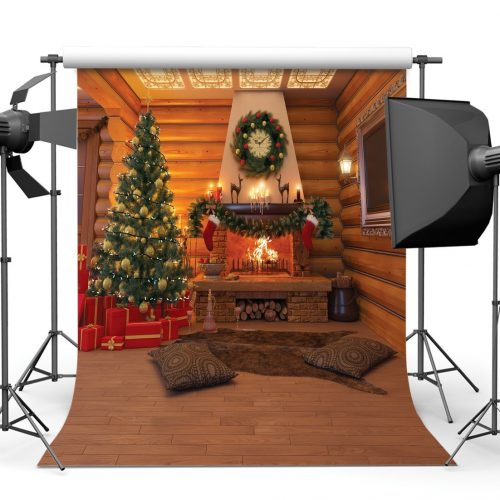 SJOLOON 8x8ft Christmas Photography Backdrops Wood House Backgrounds Christmas Tree Red Gift Box Backdrop Children Photo-Wallpapers for Christmas