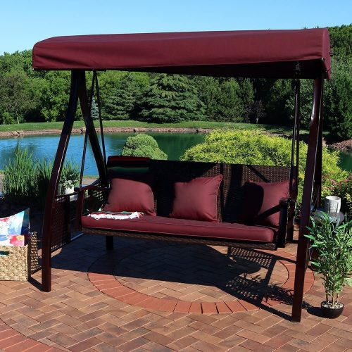 Sunnydaze Décor 3-Seat Patio Swing-Patio Gliders