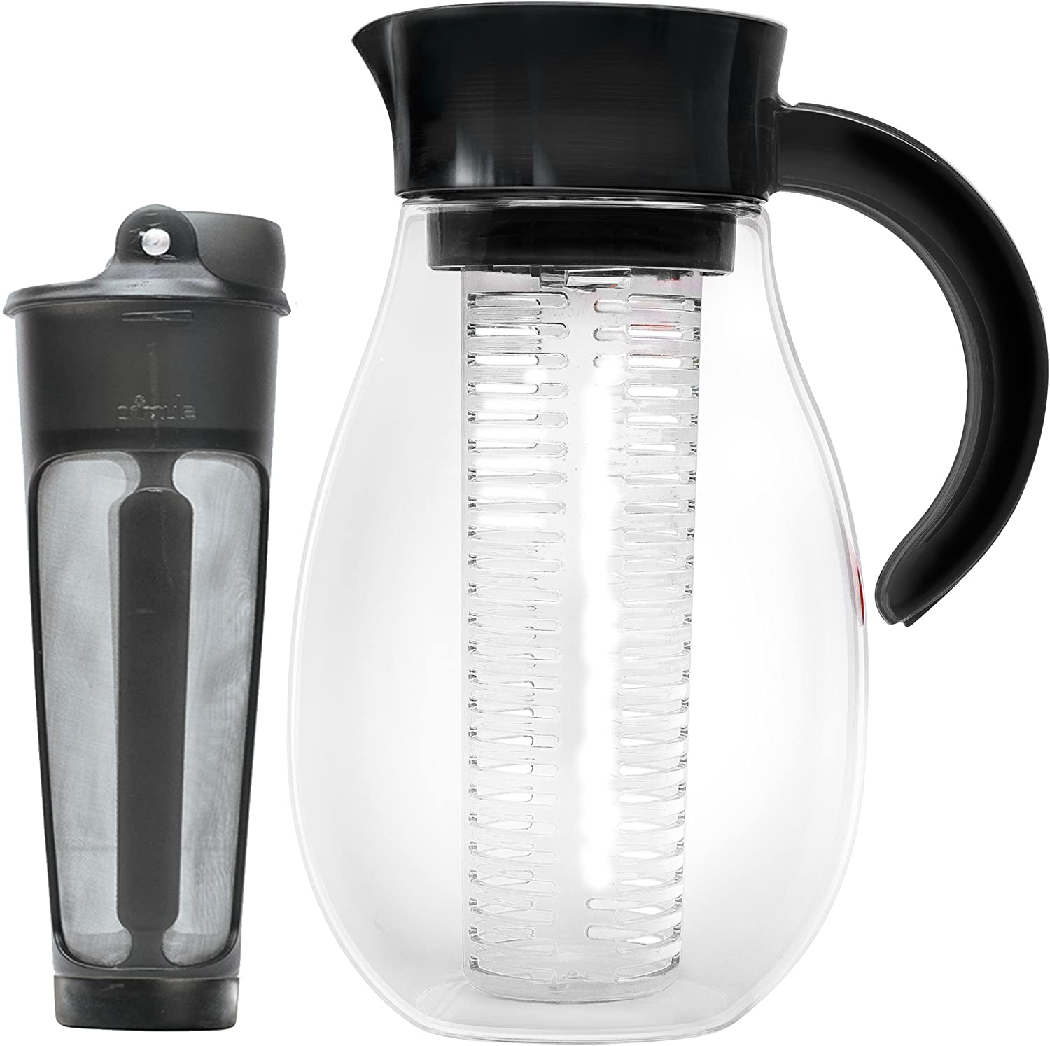 Primula PFUBK-3927 Flavor Up Airtight Cold Brew Iced Coffee Maker with Fruit core for Infused Water, Tea and More, Shatterproof Durable Plastic Construction, Leak-Proof, 2.7-quart, Black B07D8J9X1K