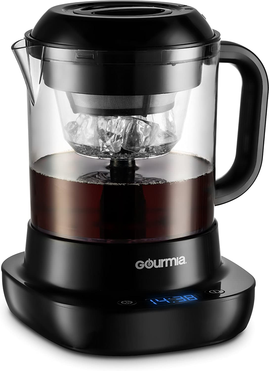 Gourmia GCM6850 New & Improved Automatic Cold Brew Coffee Maker - 4 Minutes Fast Brew - Patented Ice Chill Cycle - One Touch Digital - 4 Strength Selector - 4 Cups - 5W – Black B07DP7YSRX