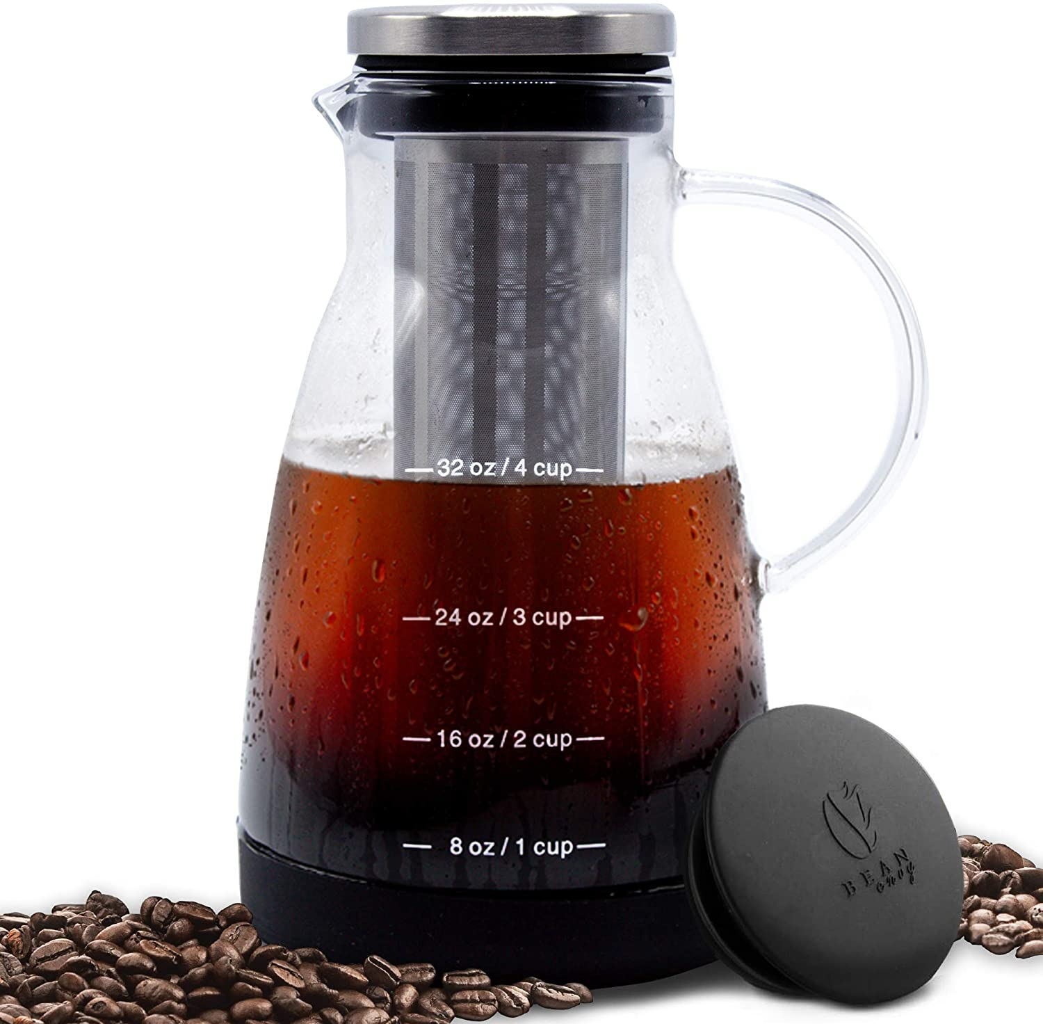 Bean Envy Cold Brew Coffee Maker - 32 oz - Premium Quality Glass - Perfect for Homemade Cold Brew and Iced Coffee - Includes Unique Non-Slip Silicone Base B071ZWR7M8