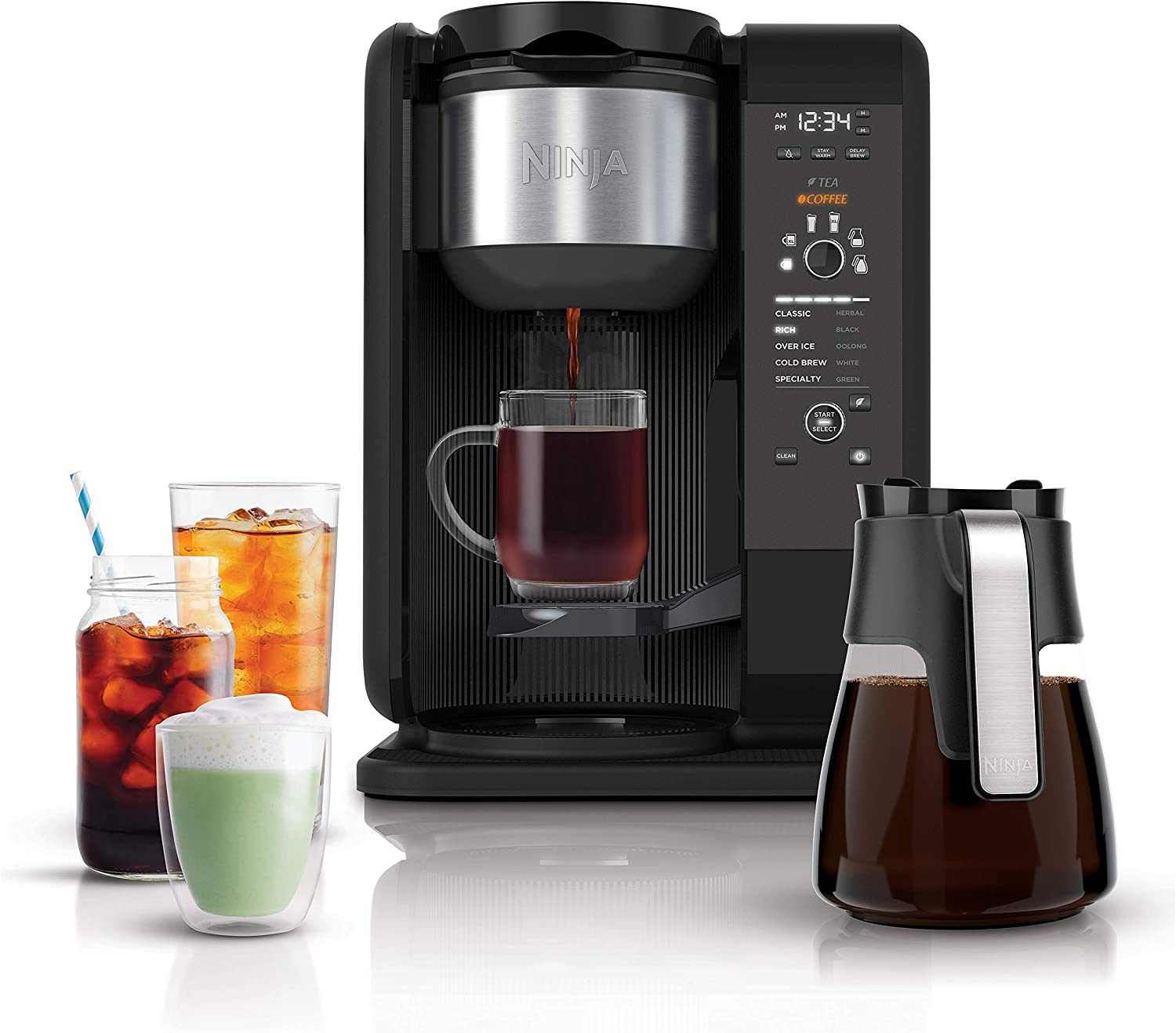 Ninja Hot and Cold Brewed System, Auto-iQ Tea and Coffee Maker with 6 Brew Sizes, 5 Brew Styles, Frother, Coffee & Tea Baskets with Glass Carafe (CP301) B07FDFP6MY