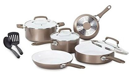 WearEver Pure Living 10-Piece Gold Cookware Set