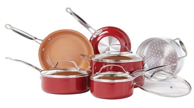 BulbHead Red Copper 10-Piece Cookware Set