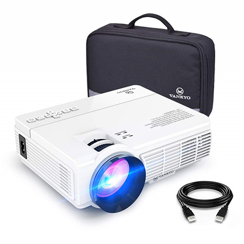VANKYO LEISURE 3 Mini Projector, Full HD 1080P and 170'' Display Supported 2400 Lux Portable Movie Projector with 40,000 Hrs LED Lamp Life, Compatible with TV Stick, PS4, HDMI, VGA, TF, AV, and USB