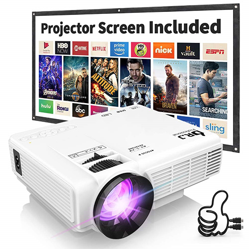"DR. J Professional HI-04 1080P Supported 4Inch Mini Projector with 170"" Display - 40,000 Hours LED Full HD Video Projector, Compatible with HDMI, USB, SD (Latest Upgrade)"