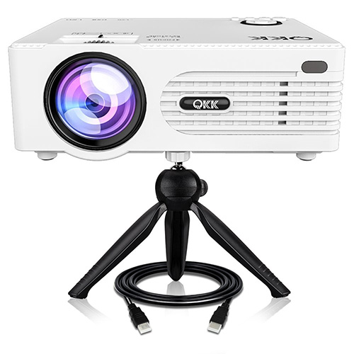 """QKK [2020 Upgrade] Mini Projector [with Tripod] LED Projector Full HD 1080P Supported, 170"""" Display for TV Stick, Video Game, Blue Ray DVD Player, Smartphone Home Theater Entertainment, Dual USB Port"""