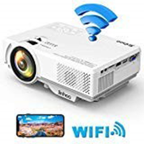 WiFi Mini Projector, Jinhoo 2020 Newest 1080P Supported, 2600 Lux HD Home Theater Projector with 176'' Projector Size, 50000 Hours Lamp Lifetime, Compatible with TV Stick, HDMI, USB, SD, VGA
