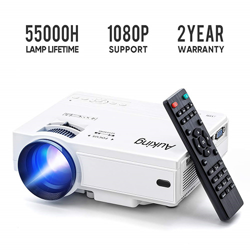 Mini Projector 2019 Upgraded Portable Video-Projector,55000 Hours Multimedia Home Theater Movie Projector, Compatible with Full HD 1080P HDMI, VGA, USB, AV, Laptop, Smartphone