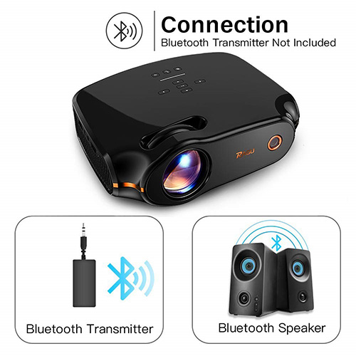 """RAGU Z498 Mini Projector, 2020 Upgraded Full HD 1080P 180"""" Display Supported, 50,000 Hrs Home Movie Projector for PC/MAC/DVD/TV/Xbox/Movies/Games/Smartphone with HDMI/VGA/USB/AV/SD (Black)"""