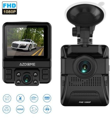 OUCOMI Dual Lens Car Dash Cam - Front and Rear Dash Cams
